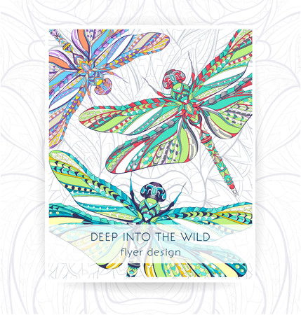 Patterned dragonfly on the grunge background. Flyer template. African, indian, totem, tattoo design. It may be used for design of a t-shirt, bag, postcard, a poster and so on.