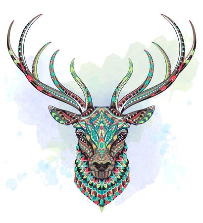 Tête à motifs du cerf sur le fond grunge. Africain, indien, totem, conception de tatouage. Il peut être utilisé pour la conception d'un t-shirt, sac, carte postale, une affiche et ainsi de suite. Banque d'images - 83245272