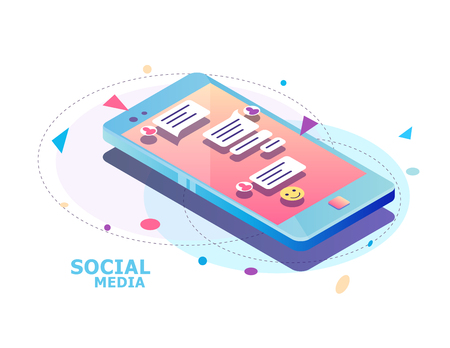 Isometric concept with mobile phone and chat. Chatting: sending and receiving messages and sms. Online conversation.  Social network. Vector illustration.