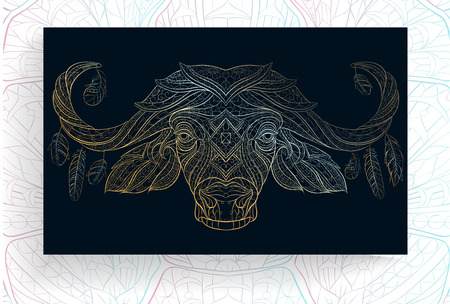Patterned golden head of buffalo. African, tattoo design. It may be used for design of a t-shirt, bag, postcard, a poster and so on. Illustration