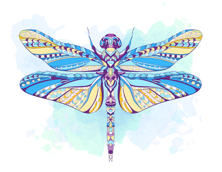 Patterned dragonfly on the grunge background. African, indian, totem, tattoo design. It may be used for design of a t-shirt, bag, postcard, a poster and so on. Illustration