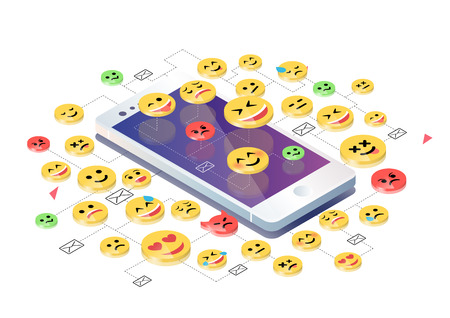 Isometric concept with mobile phone and emoticons. Emoji and messages notification.