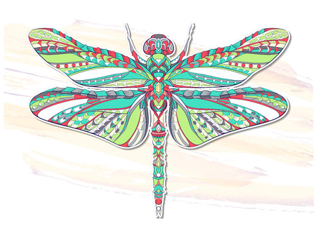 Patterned dragonfly on the grunge background. African, indian, totem, tattoo design. It may be used for design of a t-shirt, bag, postcard, a poster and so on. Illusztráció