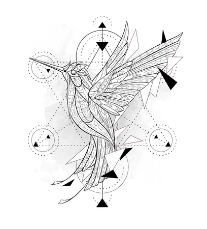 Gevormde kolibrie met meetkunde op de grungeachtergrond. Afrikaanse, Indiase, totem, tattoo ontwerp. Het kan worden gebruikt voor het ontwerpen van een t-shirt, tas, briefkaart, een poster enzovoort.