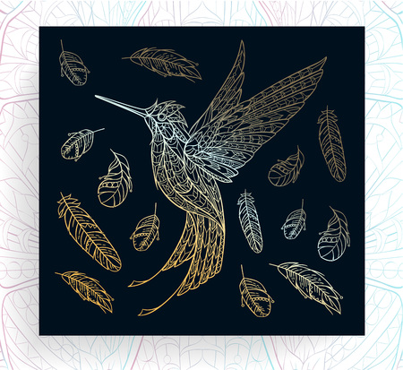 Patterned gold hummingbird. African, tattoo design. It may be used for design of a t-shirt, bag, postcard, a poster and so on.