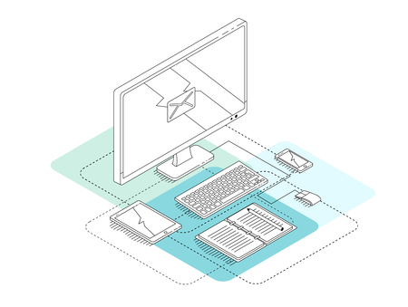 Isometric concept of workplace with computer, tablet, mobile phone. Line art. illustration. Çizim