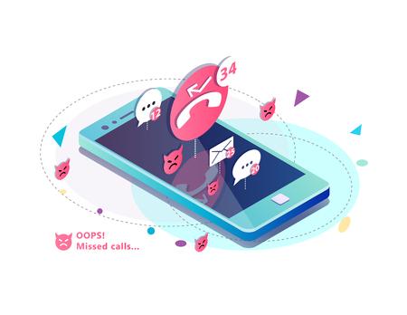Concepto isométrico con teléfono móvil, llamadas perdidas, iconos de mensajes. SMS y correo electrónico de notificación. ilustración. Ilustración de vector