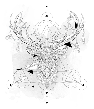 Patterned head of the deer  with geometry on the grunge background. African, indian, totem, tattoo design. It may be used for design of a t-shirt, bag, postcard, a poster and so on. Ilustracja