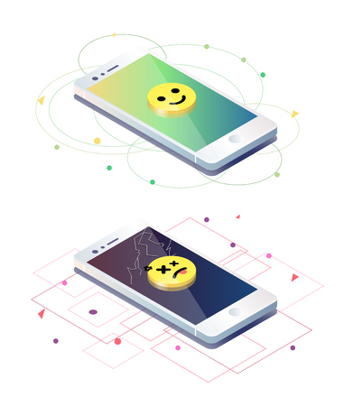 Isometric concept with fractured and unimpaired mobile phones. illustration.
