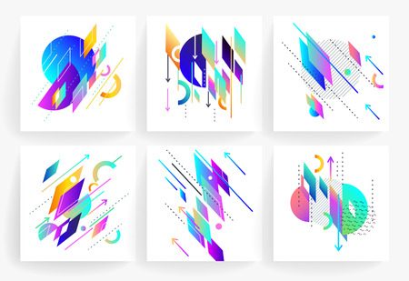 Set of geometric abstract colorful flyers.  Brochure templates. Design elements.  Modern backgrounds,  line art, space colours.