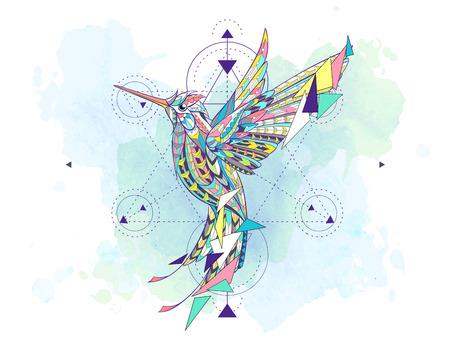 Gemusterter Kolibri mit Geometrie auf dem Schmutzhintergrund. Afrikanisch, indisch, Totem, Tattoo-Design. Es kann für den Entwurf eines T-Shirts, einer Tasche, einer Postkarte, eines Plakats und so weiter verwendet werden. Standard-Bild - 83245304
