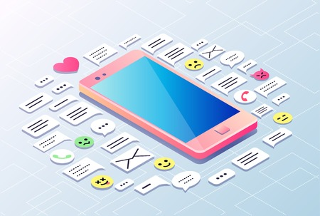 Concept of isometric mobile phone and many icons of sms, mail, messages,calls, emoticons around it.