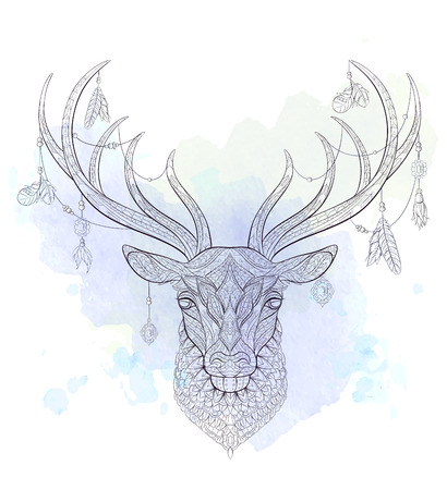 Patterned head of the deer on the grunge background. African, indian, totem, tattoo design. It may be used for design of a t-shirt, bag, postcard, a poster and so on. Ilustrace
