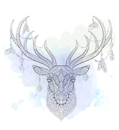 Tête à motifs du cerf sur le fond grunge. Africain, indien, totem, conception de tatouage. Il peut être utilisé pour la conception d'un t-shirt, sac, carte postale, une affiche et ainsi de suite. Banque d'images - 83245310