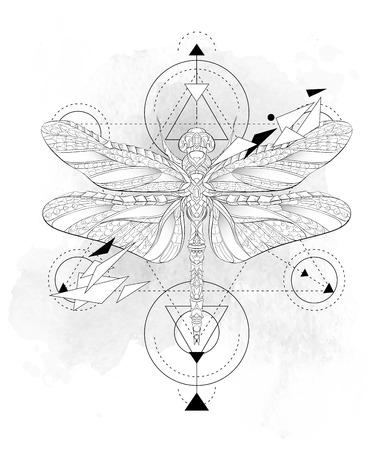グランジ背景上のジオメトリと模様のトンボ。アフリカ、インド、トーテム、タトゥーのデザイン。T シャツ、バッグ、ポストカード、ポスターのデ