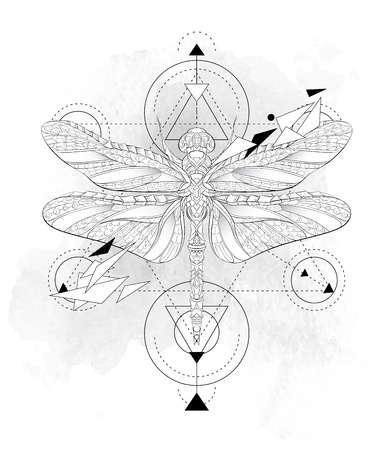 Patterned dragonfly with geometry on the grunge background. African, indian, totem, tattoo design. It may be used for design of a t-shirt, bag, postcard, a poster and so on.