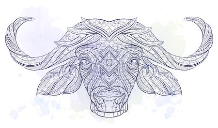 グランジ背景に水牛の柄の頭。アフリカ、インド、トーテム、タトゥーのデザイン。T シャツ、バッグ、ポストカード、ポスターのデザインなどなど