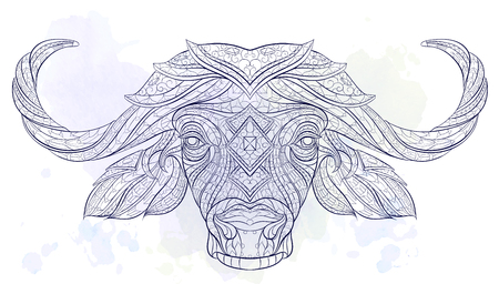 Patterned head of the buffalo on the grunge background. African, indian, totem, tattoo design. It may be used for design of a t-shirt, bag, postcard, a poster and so on.