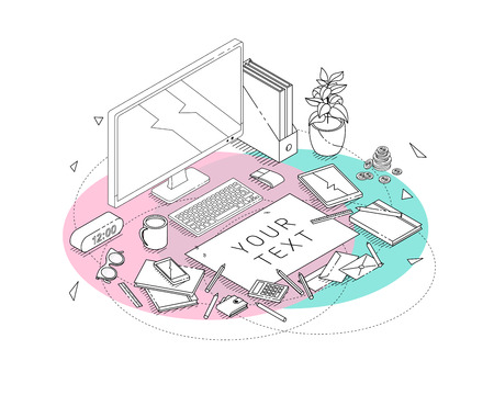 Isometric concept of workplace with computer and office equipment. Mockup with blank sheet. Line art. Illustration