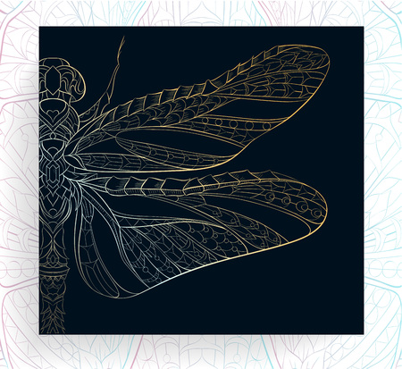 Patterned golden dragonfly. African, indian, totem, tattoo design. It may be used for design of a t-shirt, bag, postcard, a poster and so on. Reklamní fotografie - 83245318