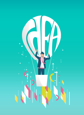 Business concept of  businessman flying away on balloon with typography idea. Geometric style elements. Illustration