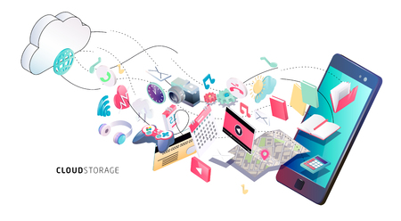 Isometric concept of cloud computing. Cloud network and services. Information exchange between cloud and phone.