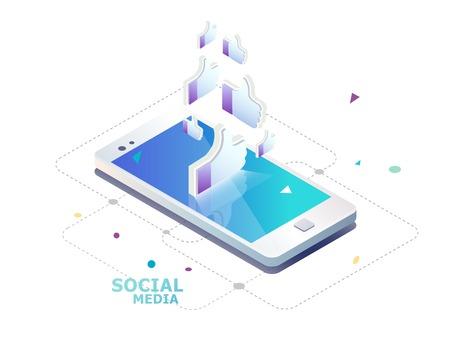 Conceito isométrico com telefone móvel e polegares para cima mão. Rede social como ícone. Empurre a notificação de agradecimento. Ilustración de vector