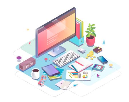 Concepto isométrico de lugar de trabajo con equipos informáticos y de oficina. Foto de archivo - 83245349