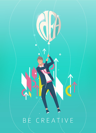 Business concept of  businessman holding ball with typography idea and flying away. Geometric style elements.