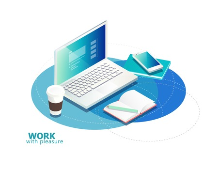 authorship: Isometric concept of workplace with laptop and office equipment.