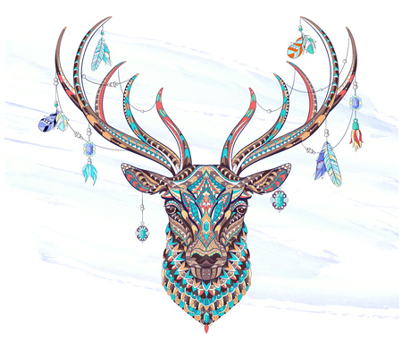 Patterned head of the deer on the grunge background. African, indian, totem, tattoo design. It may be used for design of a t-shirt, bag, postcard, a poster and so on. Stock Illustratie