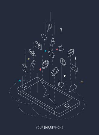Isometrisch concept van smartphone met verschillende applicaties, on-line services en stationaire opties.