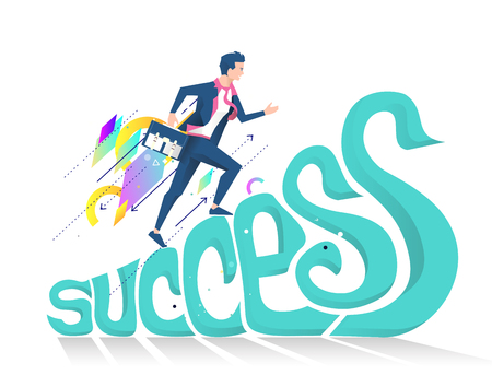 Business concept of success. Businessman climbing up letters to be successful