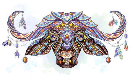 Patroon hoofd van de buffalo op de grunge achtergrond. Afrikaanse, Indiase, totem, tattoo ontwerp. Het kan worden gebruikt voor het ontwerpen van een t-shirt, tas, briefkaart, een poster enzovoort. Stock Illustratie