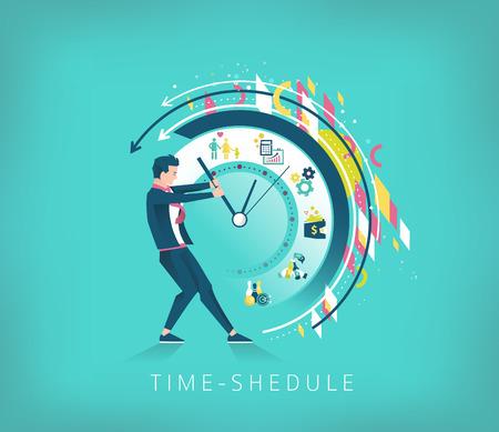 ビジネス コンセプトです。ビジネスマンは時間を停止しようとしています。最高の時間のスケジュールを検索します。幾何学的な要素。