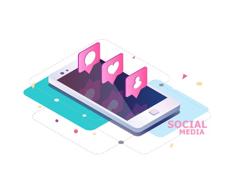 Isometric concept with mobile phone and push notification with likes, new comments, messages and followers. Set of social media notification with appreciation. Imagens - 83245357