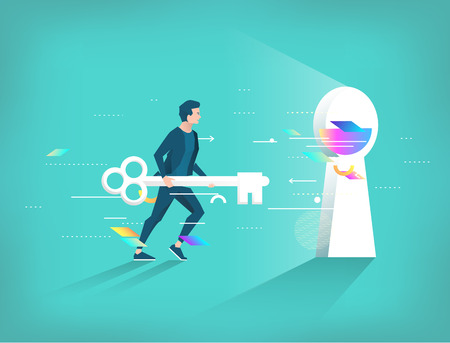 Business concept of searching best solution and way. Businessman running with key to keyhole