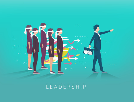 Business concept of Leadership. Businessman leads another to success. Geometric style elements.