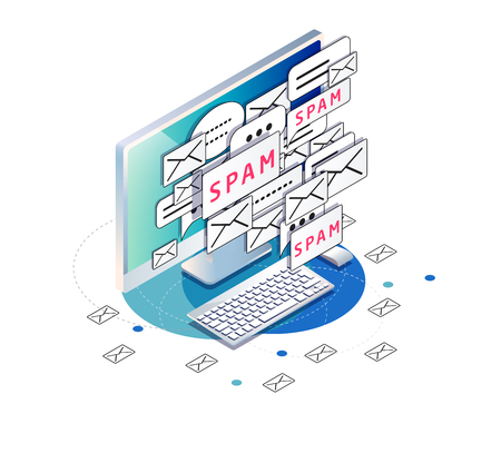 Isometric concept of spam. Junk. Unsolicited promotional email.  Workplace with computer and mails. Ilustração