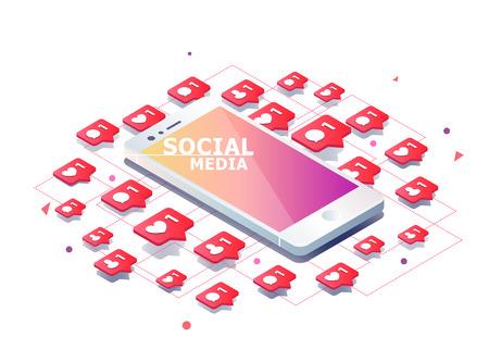 Concepto isométrico con el teléfono móvil y la notificación del empuje con gustos, nuevos comentarios, mensajes y seguidores. Conjunto de notificación de medios sociales con agradecimiento.