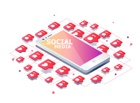 Isometrisches Konzept mit Handy und Push-Benachrichtigung mit Likes, neue Kommentare, Nachrichten und Anhänger. Set von Social Media Benachrichtigung mit Wertschätzung. Standard-Bild - 83245379