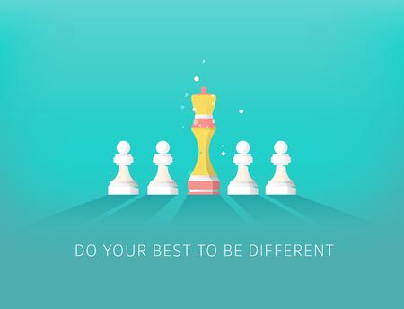 Concepto de diferencia con el ajedrez. Liderazgo y éxito. Haz lo mejor para ser diferente. Foto de archivo - 83245377