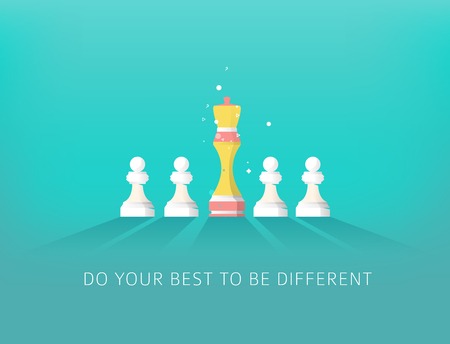 Concept of Difference with Chess. Leadership and Success. Do your best to be different. Illustration