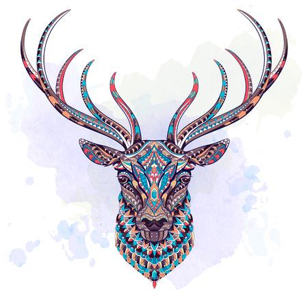 Gepatenteerd hoofd van de hert op de grunge achtergrond. Afrikaans, Indisch, Totem, Tattoo Ontwerp. Het kan gebruikt worden voor het ontwerpen van een t-shirt, een zak, een postkaart, een poster enzovoort. Stock Illustratie