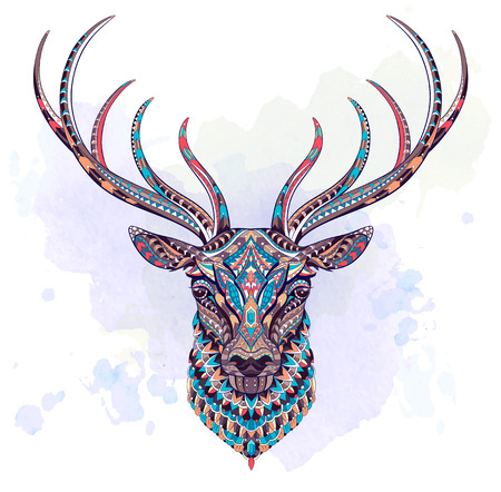 Patterned head of the deer on the grunge background. African, indian, totem, tattoo design. It may be used for design of a t-shirt, bag, postcard, a poster and so on. Çizim