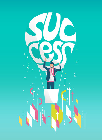 Business concept of  businessman flying away on balloon with typography success. Geometric style elements. Illustration