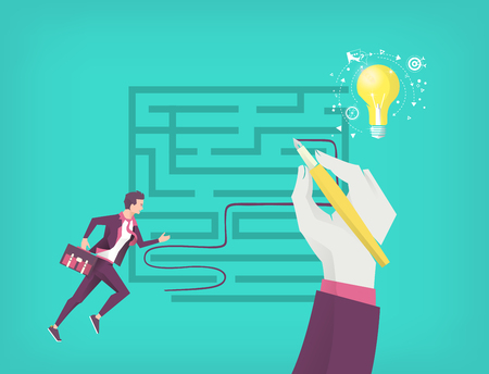 Business concept of searching idea. Businessman running through  maze to find idea. Hand leads him. Çizim