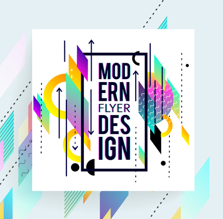 Geometric abstract colorful flyer.  Brochure templates. Design elements.  Modern backgrounds,  line art, space colours.