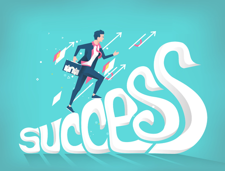 Business concept of success. Businessman climbing up letters to be successful.