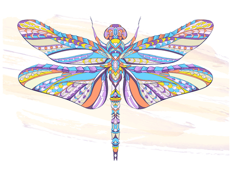 Patterned dragonfly on the grunge background. African, indian, totem, tattoo design. It may be used for design of a t-shirt, bag, postcard, a poster and so on. Ilustração